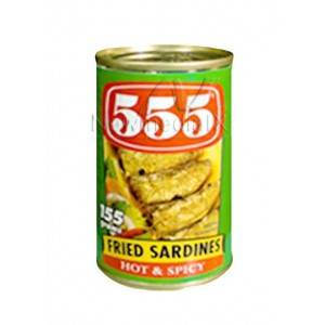 555 , Sardines Fried Sardines Hot & Spicy (155 g)